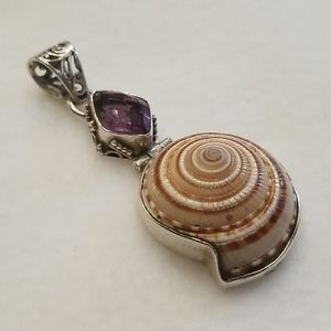 Jewelry - Sterling Amethyst Spiral Shell Mermaid Pendant